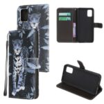 Cross Texture Pattern Printing Leather Wallet Case with Strap for Samsung Galaxy A51 5G SM-A516 – Leopard