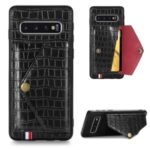 Crocodile Skin with Card Holder PU Leather Coated TPU Shell for Samsung Galaxy S10 Plus – Black