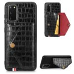 Crocodile Surface with Kickstand Cell Phone Case for Samsung Galaxy S20 – Black