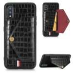 Crocodile Skin Phone Case Card Holder for Samsung Galaxy A01 – Black