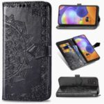 Embossed Mandala Flower Wallet Leather Stand Phone Protection Cover for Samsung Galaxy A31 – Black