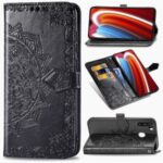 Embossed Mandala Flower Leather Wallet Case for Samsung Galaxy A21 – Black