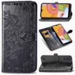 Embossed Mandala Flower Leather Wallet Stand Case for Samsung Galaxy A01 – Black