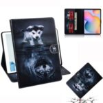 Pattern Printing Wallet Leather Tablet Cover for Samsung Galaxy Tab S6 Lite SM-P610/P615 – Dog and Wolf Reflection