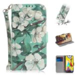 Pattern Printing Light Spot Decor Leather Phone Case Wallet for Samsung Galaxy M31 – Beautiful Flowers