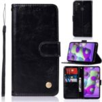 Premium Vintage Leather Wallet Case for Samsung Galaxy A21 – Black