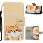 Pattern Printing Flip Leather Wallet Phone Cover for LG K61 – Yellow Cat
