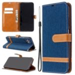 Assorted Color Jeans Cloth Leather Wallet Stand Case for Huawei P40 Lite / Nova 7i / Nova 6 SE – Dark Blue
