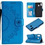 Imprint Flower Leather Wallet Stand Case for Huawei P40 lite E / Y7p – Blue