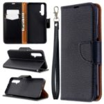 Litchi Skin Wallet Leather Stand Case for Huawei Honor 20s (Global Edition) – Black