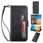 Zipper Pocket Wallet Stand Flip Leather Phone Casing with Strap for Huawei P40 – Black
