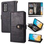 Retro Buckle Leather Phone Case with Strap for Huawei P40 – Black