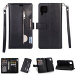 Multi-slot Wallet Zippered Leather Stand Case for Huawei P40 Lite/Nova 7i/Nova 6 SE – Black