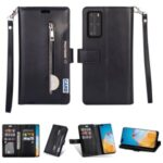 Multifunction Zipper Pocket Wallet Leather Stand Case for Huawei P40 – Black