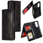Zipper Pocket 9 Card Slots Leather Wallet Shell Case for Huawei P40 Pro – Black