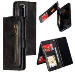 Zipper Pocket 9 Card Slots Leather Wallet Cover Case for Huawei P40 – Black