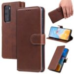 Leather Stand Phone Case Wallet Shell for Huawei P40 Pro – Brown