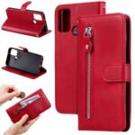 Zipper Pocket Leather Wallet Case for Honor 9A – Red