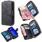 BF001 Leather Shell Anti-Gravity Zip Wallet Case for Huawei Honor 9X (Global Version) – Black