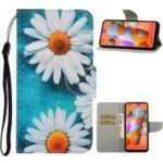 Pattern Printing Magnetic Leather Wallet Case with Strap for Huawei P40 lite E/Y7p – White Flowers