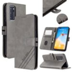 Wallet Stand PU Leather Phone Cover with Lanyard for Huawei P40 – Grey