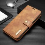 DG.MING Detachable 2-in-1 Split Leather Wallet Shell + PC Back Case for Huawei P40 Pro – Brown