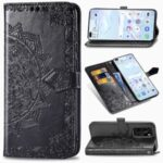 Embossed Mandala Flower PU Leather Flip Cover with Wallet for Huawei P40 – Black