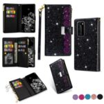 Glittery Starry Style Laser Carving Zipper Wallet Stand Leather Phone Cover for Huawei P40 Pro – Black