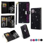 Glittery Starry Style Laser Carving Zipper Wallet Stand Leather Case for Huawei P40 Lite 4G/Nova 6 SE/Nova 7i – Black