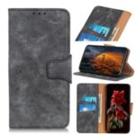 Retro Split Leather Wallet Stand Cell Phone Case for Huawei Y6p – Grey