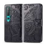 Imprint Big Butterfly Leather Wallet Special Design Case for Xiaomi Mi 10 Pro – Black