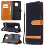 Assorted Color Jeans Cloth Wallet Leather Cover for Xiaomi Redmi Note 9/Note 9 Pro/Note 9S – Black