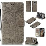 Imprinted Lace Flower Skin Leather Wallet Cover for Xiaomi Redmi Note 9S/Redmi Note 9 Pro/Redmi Note 9 Pro Max – Grey