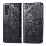 Imprint Butterfly Flower Wallet Leather Stand Case for OPPO F15/A91 – Black