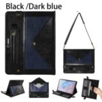 Color Splicing Envelop Style Wallet Leather Flip Case with Pen Pouch for Microsoft Surface Pro 7/6/5/4 – Black/Dark Blue