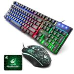 T5 Color Backlight LED Professional Russian Gaming Keyboard + USB Wired Mouse Set