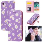 Daisy Pattern Flash Powder Leather Card Holder Case for iPhone SE (2nd Generation)/8/7 – Purple