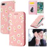 Daisy Pattern Flash Powder Leather Stand Case with Card Slots for iPhone 8 Plus/7 Plus – Pink