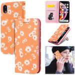 Daisy Pattern Flash Powder Stand Leather Card Holder Case for iPhone XR 6.1 inch – Orange