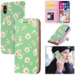 Daisy Pattern Flash Powder PU Leather Card Holder Case for iPhone XS/X 5.8 inch – Green