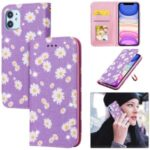 Daisy Pattern Flash Powder Cell Phone Leather Card Holder Case for iPhone 11 6.1 inch – Purple