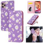 Daisy Pattern Flash Powder Stand Leather Card Holder Shell for iPhone 11 Pro Max 6.5 inch – Purple