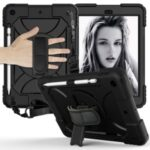 PC + TPU Hybrid Case with 360 Degree Swivel Kickstand Hand Strap and Shoulder Strap for iPad 10.2 (2019) – Black