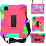 Rainbow Style 360° Swivel Handy Strap Kickstand PC Silicone Tablet Shell with Shoulder Strap for iPad Pro 11-inch (2020)/(2018) – Rainbow/Rose