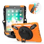 360° Swivel Kickstand PC + Silicone Combo Tablet Case with Handy Strap and Shoulder Strap for iPad 9.7-inch (2018) – Orange