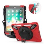 360° Swivel Kickstand PC + Silicone Combo Tablet Case with Handy Strap and Shoulder Strap for iPad 9.7-inch (2018) – Red