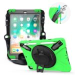 360° Swivel Kickstand PC + Silicone Combo Tablet Case with Handy Strap and Shoulder Strap for iPad 9.7-inch (2018) – Green