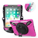 360° Swivel Kickstand PC + Silicone Combo Tablet Case with Handy Strap and Shoulder Strap for iPad 9.7-inch (2018) – Rose