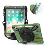 360° Swivel Kickstand PC + Silicone Combo Tablet Case with Handy Strap and Shoulder Strap for iPad 9.7-inch (2018) – Camouflage