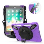 360° Swivel Kickstand PC + Silicone Combo Tablet Case with Handy Strap and Shoulder Strap for iPad 9.7-inch (2018) – Purple